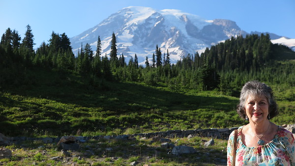 Mt. Rainer summit from Paradise camp on a beautiful summer day